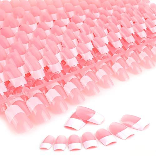 MWOOT Künstliche Nägel, 240 Stück NagelKunst Ersatznägel (12 Größen), Französisch Falsche Fingernägel, Nail Art French Nails-L Kunstnagel