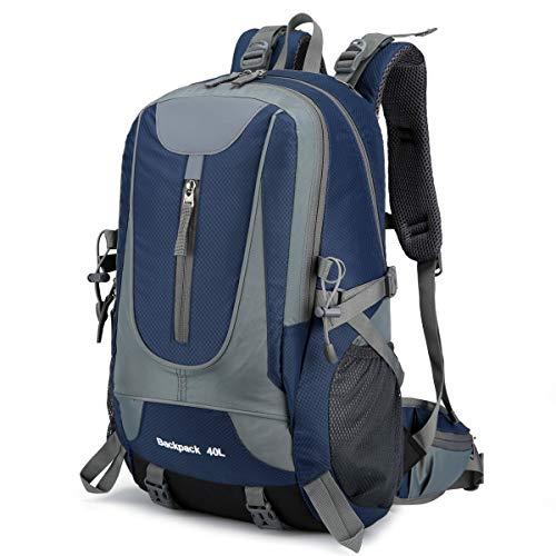 40L Wandern Rucksack, Multifunktions Wasser-resistent Casual Camping Trekking Rucksack für Radfahren Reisen Klettern Outdoor Sport SBS Reißverschluss (Dunkelblau)