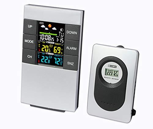 YPJKHM Drahtlose Gasbild-Vorhersage-Uhr Innen- und Außentemperatur- und Luftfeuchtigkeitstemperaturuhr