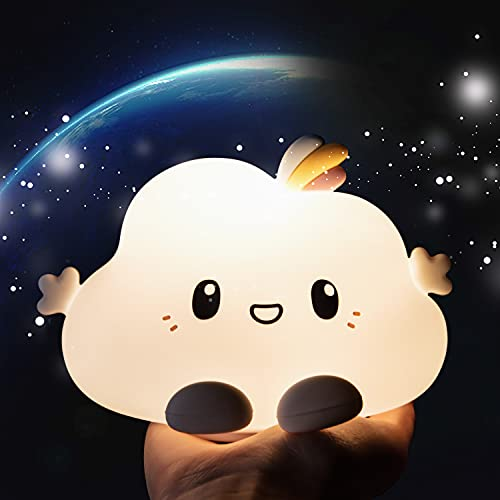 Cute Cloud Night Light for Kids, Color Changing Nightlight with Touch,Silicone Baby Nursery Lamp, Kawaii Stuff & Birthday Gifts for Toddler Children Teenage Girls Bedroom,Battery Operated,Rechargeable