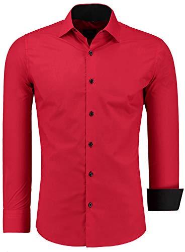 Jeel Herren-Hemd Langarm - Slim-Fit - Business Freizeit Hochzeit - Bügelleicht - Rot L