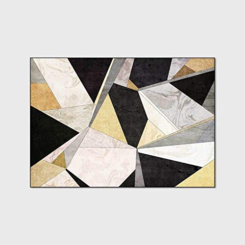 WIVION Großer Teppich Moderner Minimalistischer Marmorteppich Dreieckige Geometrische Design Teppiche Rechteck Bodenmatte Für Wohnzimmer Schlafzimmer Küche Nachttisch,60x180cm(24x71inch)