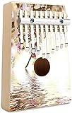 Moderno Kalimba Thumb Piano 10 teclas Moderno paisaje de la ciudad de Nueva York por la noche con rascacielos Edificios Imprimir Portátil Mbira Sanza Piano de dedo de madera africana Regalos para niñ