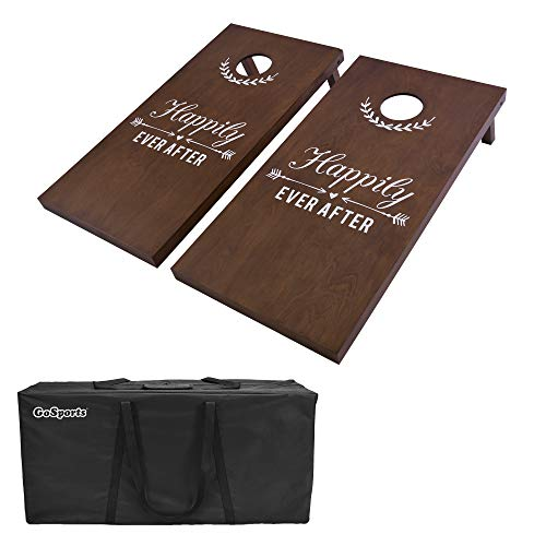 GoSports Wedding Cornhole Set - Regulation 4'x2' Size Solid Stained Wood with Carrying Case and Optional Bean Bag Colors - Match The Wedding Theme