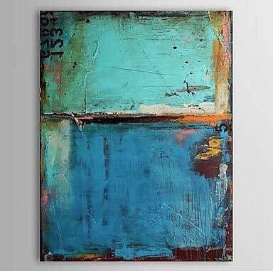 wZUN Pintura al leo Pura, Lienzo Abstracto Vintage, Pintura Azul y Arte de Pared de Lienzo de por Vida 60x132 Sin Marco