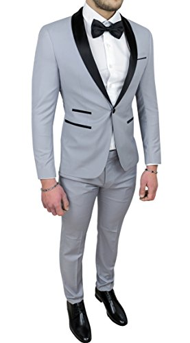 Abito Completo Uomo Sartoriale Grigio Raso Vestito Smoking Elegante Cerimonia (44, Grigio)