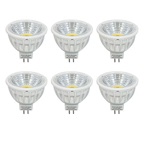 DC12V Ersetzt 50-60W Halogen Lampe Dimmbar MR16 LED Lampen Gu5.3 Strahler kalt Weiss 6000K 550LM Ra90 90°Abstrahlwinkel,6er Pack.