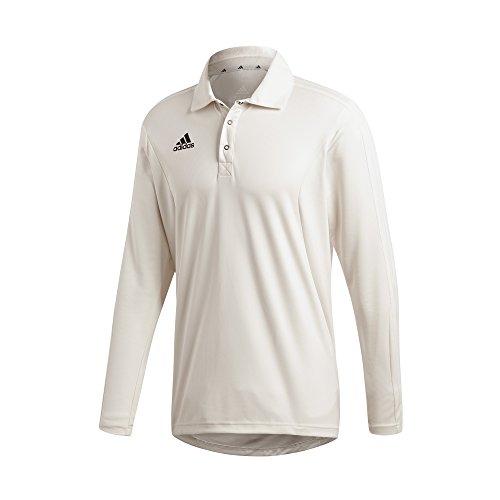 adidas langärmlig Kinder Cricket weiße Hemd Trikot weiß - Weiß, 15-16 Years