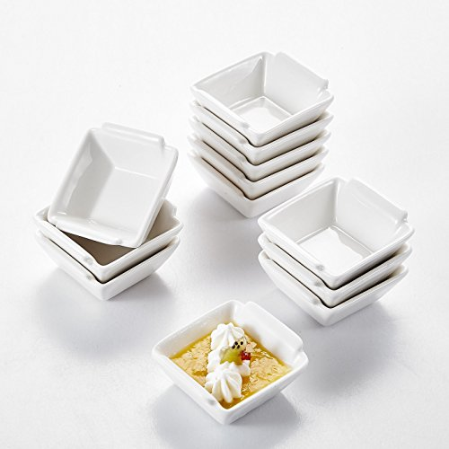Malacasa Série Ramekin Dish, 12pcs Ramequin Moule à Soufflé Crème Brulée Muffin Bols Porcelaine 6cm