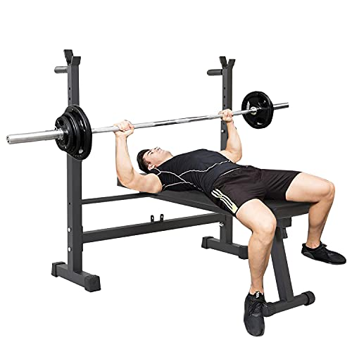 40-inch Wide Adjustable Foldable Barbell Rack Olympic Weight Bench for Home Gym Workout, Strength Training, Easy Storage