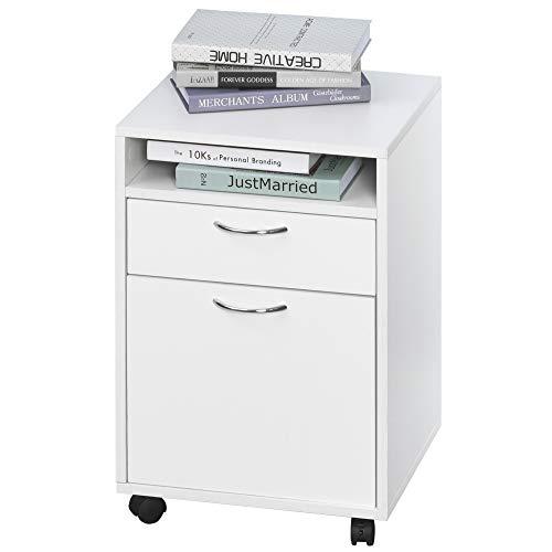 homcom Cassettiera Documenti da Ufficio 2 Cassetti 4 Ruote Maniglie in Metallo Legno 40x35x60cm Bianco