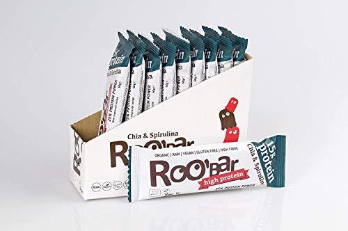 ROOBAR Chia & Spirulina 100% Organic Raw Vegan Protein Bar for Optimum Nutrition. Dairy & Gluten Free - 10 x 60g Protein Bars