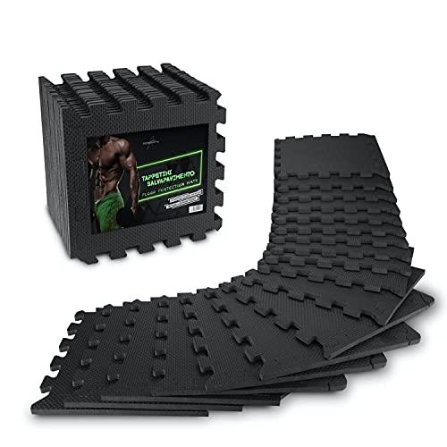 Tappetini salvapavimento per fitness AthleticPro [31x31cm] - 18 tappetini extra spessi [20% di protezione in più] - Tappetini protettivi antiscivolo per palestre e attrezzi