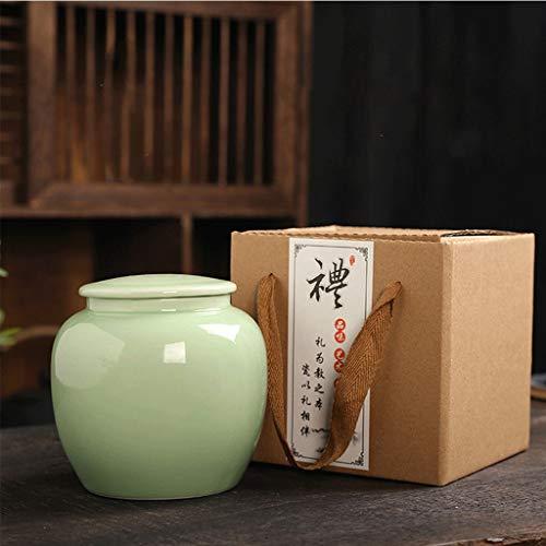 Keramik Tee Dosen Verpackung Geschenk-Box Seladon verschlossene Dosen grüner Tee schwarzer Tee Pu'er Teeblätter (mit Verpackung) (Color : 2)