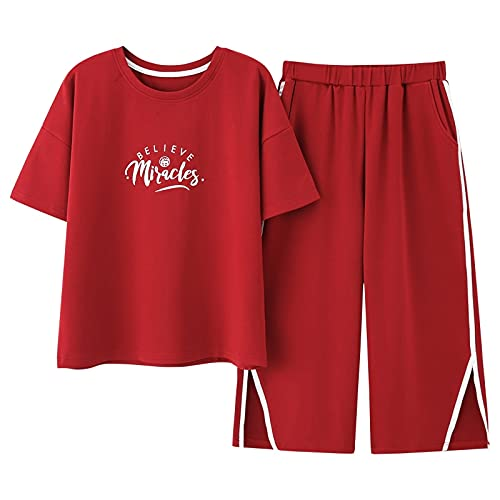 XFLOWR Conjunto de Pijama Informal de Verano para Mujer,Conjunto de Pijama de 100% algodón de Manga Corta, Conjunto de Ropa de Dormir, Pijama para Mujer XXL CGE2010