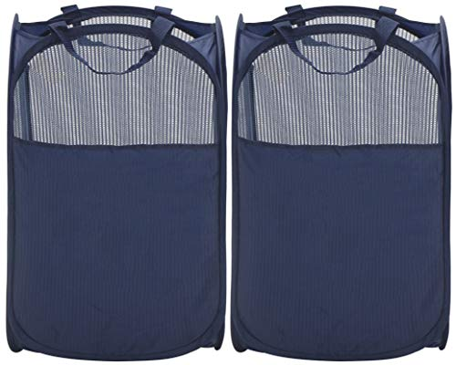 StorageManiac Foldable Pop-Up Mesh Hamper, Laundry Hamper with Reinforced Carry Handles, Pack of 2