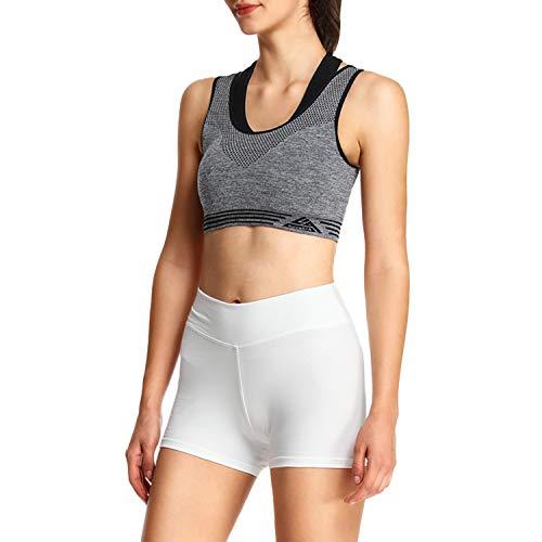 4How Short Danse Femme Blanc Confortable Short Moulant Sport Coton pour Yoga Fitness Grande Taille XL