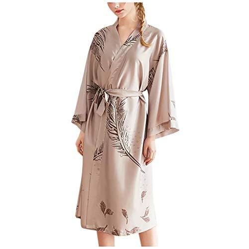Dasongff dames ochtendjas lang zijde satijn kimono jurk bloemenkersenpatroon kimono badjas dames lange robe bloemen slaapjas meisje pajama party XX-Large kaki