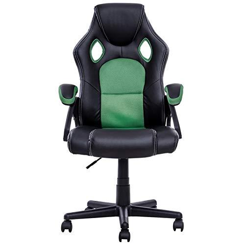 HEEGNPD PU-lederen kuipstoel Executive stijl bureaustoel Racing 360 graden draaibare pneumatische zithoogteverstelling spel stoel