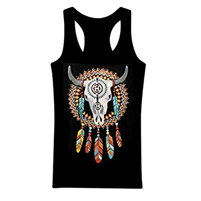 KYLEON Fashion Women Cowgirl Feathers Rhinestones Tribal Tank Top Shirt Western Gray