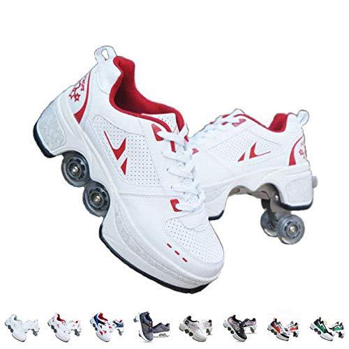 Fbestxie Patins A roulettes Reglables, Rollers en Ligne pour Enfants,Quatre Roues Fille Chaussures...