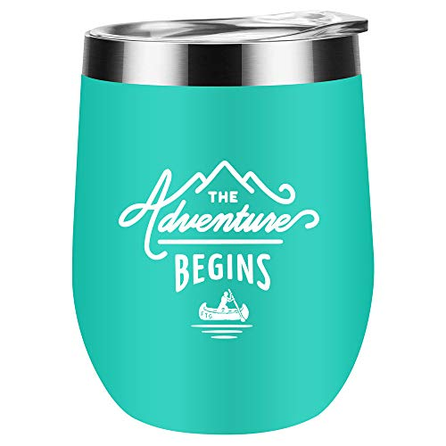 The Adventure Begins 12oz Stainless Steel Insulated Wine Tumbler with Lid and Straw Graduation Gifts for Her Going Away Moving Away New Job Divorce Gifts for Women Friends BFF Coworkers (Green)