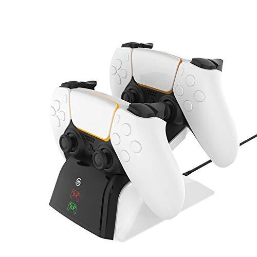 【最新】FiSound PlayStation5コントローラー充電スタンド充電器PS5ハンドル・ジョインスティク充電チャージダブル充電ポート付き2台同時充電 LED充電指示 プレステ5DualSenseワイヤレスコントローラー (CFI-ZCT1J)に適応