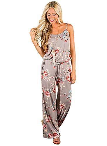 AMiERY Floral Printed Jumpsuits Women Halter Sleeveless Wide Long Pants Jumpsuit Rompers (M, Khaki)
