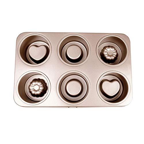 Moldes para Tartas y bizcochos Antiadherente del Molde for Pasteles 6 Copa Muffin Pan Creativo de Doble Cara Disponibles Inicio Cocina Mini Cake Lindo patrón de Molde de Pastel Moldes