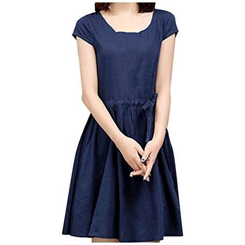 Vrouwen A-lijn jurk met riem elegante ronde hals midi jurken vrije tijd blousejurk baljurk feestjurk vrouwen korte mouwen tas wikkeljurken avondjurken feestjurk