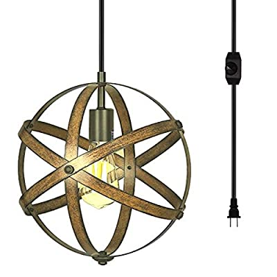 Yoposeo Plug in Pendant Hanging Light, Industrial Brown Color Style Metal Globe Vintage Ceiling Light Fixture with 16.4 Ft Hanging Cord and Dimmable Switch for Kitchen Island Dining Room Farmhouse