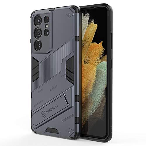 Cover per Samsung Galaxy S21 Ultra 5G Custodia con Cavalletto in Metallo 360° Ring Difesa Militare Bumper TPU Con Strumenti di apertura Supporto Verticale e Orizzontale (GRIGIO)