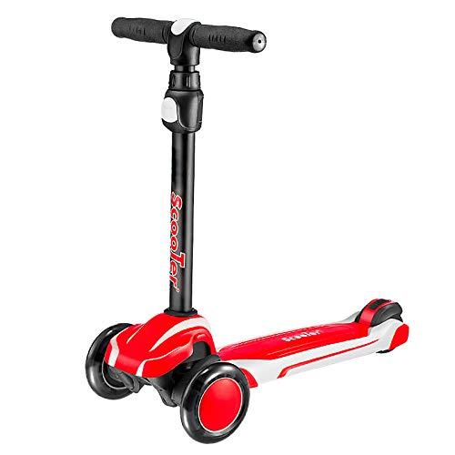 LABYSJ Vespa del Retroceso del Pedal del pie del Color Doble, PU Que Destella 3 Ruedas, Vespa de los niños del niño,Rojo