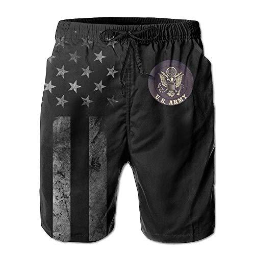 Kling Amerikanische Flagge und US Army Boardshorts für Herren, Badehose, Kurze Hose, XL