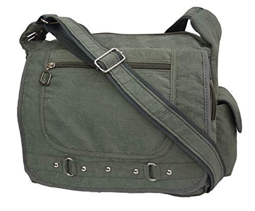 Leichte Sportlische Damen Schultertasche Umhängetasche Handtasche Stofftasche Bag Crossover (Grüngrau)