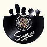 SXSDGZ Die Simpsons Vinyl Wanduhr Schwarz Dekor Mo