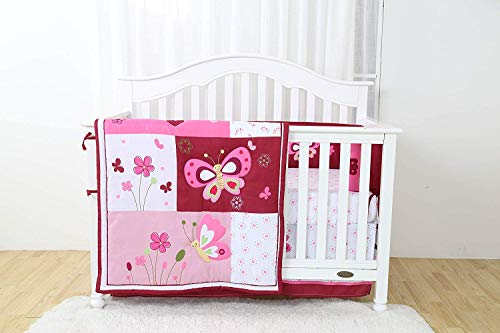Hypoallergenic Linens and More Modern Luxury Quality 4 Piece Crib Bedding Sets for Girls and Boys, Set Includes, Fitted Sheet, Crib Bumper, Crib Skirt and Reversible Quilt (Butterfly) ((Butterfly))