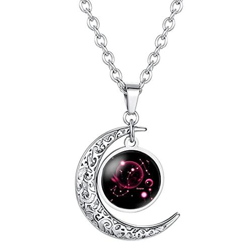 Caimeytie Collar de Mujer Colgante de Luna Constelación Signos del zodíaco Encantos de Vidrio Transparente Escorpio