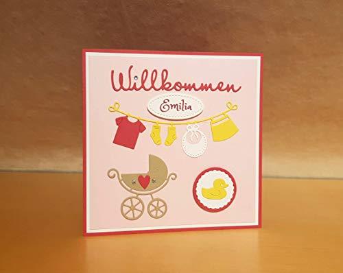 Babykarte, Glückwunschkarte, Karte zur Geburt, zum Baby, Mädchen, Name personalisierbar, Handarbeit