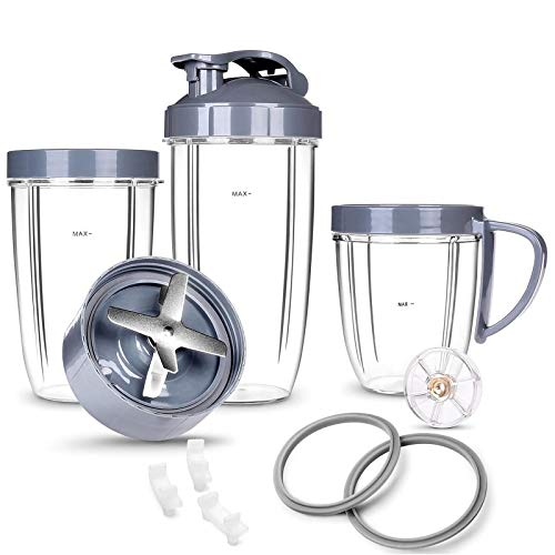 Deluxe Upgrade Parts kit Cups & Blade &Top Gear & Gaskets & Shock Pad 13-Piece Replacement Set Compatible with NutriBullet High-Speed Blender/Mixer System 600W-900W Series
