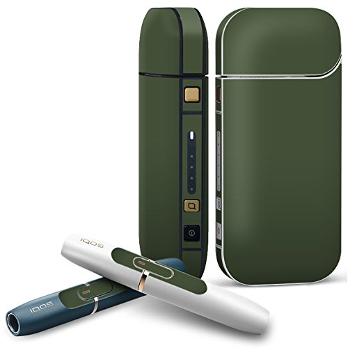 IQOS 2.4 plus 専用スキンシール COMPLETE アイコス 全面セット サイド ボタン デコ 緑 単色 シンプル 012248