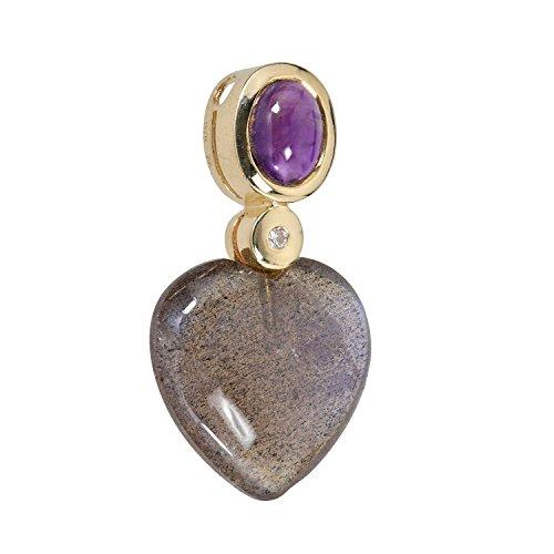 Mujer Colgante Cadena Colgante Corazón Oro Amarillo 375(9karat) labradorita amatista y diamante Brillant