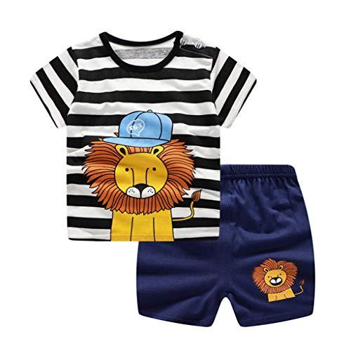 Jimmackey Neonato Bambino Striscia T-Shirt Fumetto Leone Stampa Cime + Pantaloncini Vestiti Completo