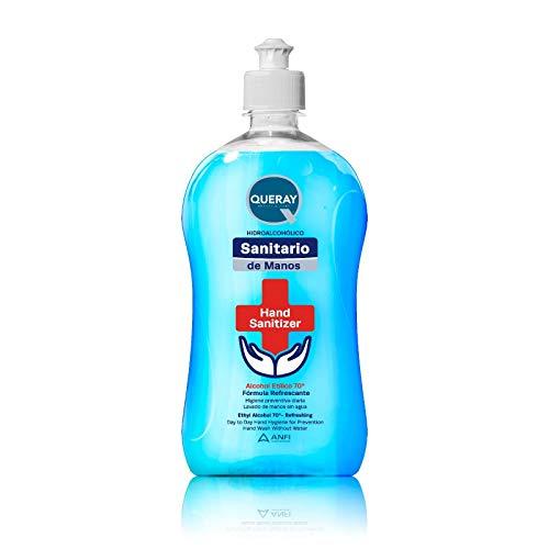 Gel HidroAlcohólico Azul Sanitario Antiséptico Queray 500 ml · Envase con Dosificador Directo · Gel Desinfectante Sanitario Anti-Bacterias para Piel Sana · Previene Contagio e Infecciones de Virus