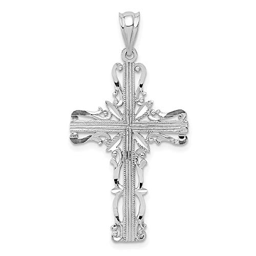 14k White Gold Latin Cross Religious Pendant Charm Necklace Celtic Iona Fine Jewelry For Women Gifts For Her
