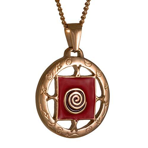 Vadim Tschenze Edelstahl rosé vergoldet - Rote Emaille - Echter Talisman Glücksbringer - Heilige Schamanische Spirale - Unisex Schmuck - Amulett Schutz (3x3cm)