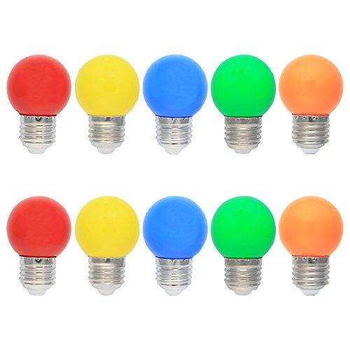 10X E27 Lampadine LED 1W Colore Lampadina Sostituzione 10W Alogena 360 Gradi Angolo a Fascio Colorata LED AC220V-240V