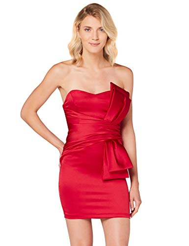 Amazon-Marke: TRUTH & FABLE Damen Schulterfreies Mini-Kleid aus Satin, Rot (Red), 36, Label:S