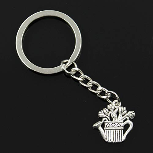 TAOYUE Mode Männer 30Mm Schlüsselbund DIY Metallhalter Kette Vintage Blumentopf Kessel 20X19Mm Silber Farbe Anhänger Geschenk