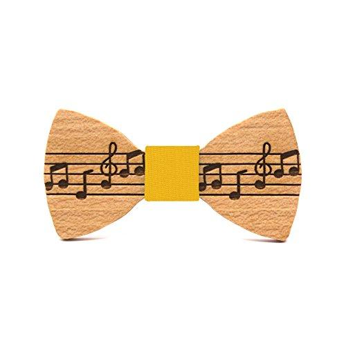 Territorial Pajarita de madera Pentagram para niño. Colección de moda infantil: Confeccionada en España Línea de boda, comunión y eventos. Diseño musical, divertido y original (Mostaza)